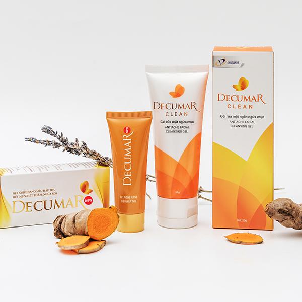 Combo gel trị mụn Decurma và sữa rửa mặt Decurma clean